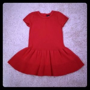 Gap Lady in Red ruffled dress